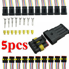 5 Kits 4 Pin Way Car Waterproof Electrical Wire Connector Socket Plug Terminals