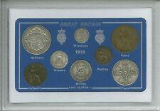 1918 GB de Gran Bretaña Británico Vintage Moneda Set (99th Cumpleaños Regalo Nacimiento Año)