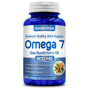 Omega 7 Fatty Acids 200 Capsules Natural Sea Buckthorn Made in USA NON GMO
