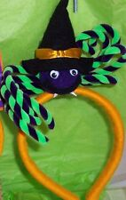 Halloween Purple Spider with Velvet Legs & Witch Hat on a Gold Felt Headband