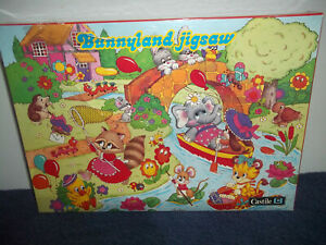 BUNNYLAND JIGSAW - VINTAGE CASTILE 70 PIECE WOODEN PUZZLE - NEW & SEALED - RARE
