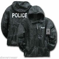 Black Police Officer Cop Sheriff Law Windbreaker Zipper Light Jacket Coat Hood