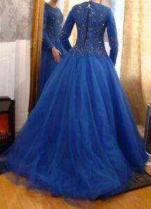 Tolles Brautkleid Ballkleid Verlobungskleid Gelinlik blau m Reifrock G 38 40 M S