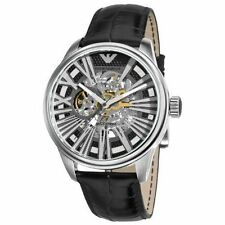 New Emporio Armani Men's Watch AR4629 Meccanico Skeleton Dial Black Strap SALE