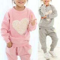2pcs Kids Baby Girls Clothes Outfit Cotton T-shirt Tops Tracksuit+Pants Suit Set
