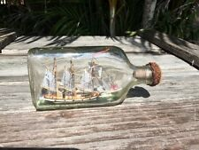 ONE OF A KIND SHIP IN BOTTLE  SMALL ELIPTICAL BOTTLE UNKNOWN  SAILING SHIP