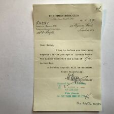 1939 The Times Book Club, Deposit Notice Letter  ref094