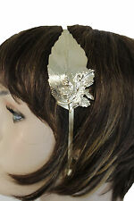 Fun Women Headband Gold Metal Long Leaf Fashion Hair Accessory Casual Look Teens