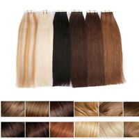 Remy Invisible Tape In Human Hair Extensions Full Head Skin Weft 20'' 40pcs 100g