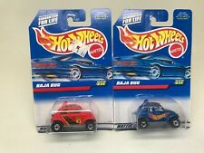 HOT WHEELS-LOT OF 2-BAJA BUGS-RED,BLUE #835-1997--SEALED ON CARDS