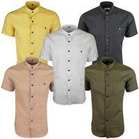 Mens Linen Cotton Short Sleeve Grandad Mandarin Summer Pocket Shirt 429
