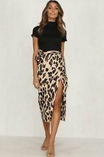 Women Leopard Printed High Slit Wrap Tie Up Loose Skirt High Waist Midi Dress Us