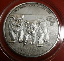 """Kongo: 2000 Francs 2013 Antique finish, """"Baby Lions"""" F#3162, 3 Unzen/Oz Silber"""
