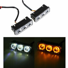 2X 3LED White+Yellow Turn Signal Car DRL Daytime Running Driving Light With Wire