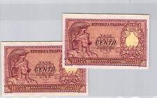 ITALIE LOT DE DEUX 100 LIRES 31.12.1951 N° 3519005029 & 3519005030 PICK 92b