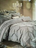 Imperial Rooms Kensington King Size Pintuck Grey Duvet Cover Bedding Set (1168)