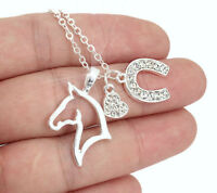 HORSE & WESTERN JEWELLERY JEWELRY LADIES SPARKLING HORSE CHARMS NECKLACE SILVER