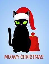 METAL REFRIGERATOR MAGNET Christmas Black Cat Green Eyes Santa Hat Meowy Humor
