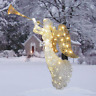 """48"""" Silver Sisal Angel With Trumpet LED Lighted Sculpture Christmas Yard Decor"""