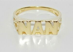 9ct Yellow Gold on Silver NAN Ring - All Sizes Available
