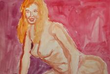 Vintage fauvist watercolor painting nude female portrait