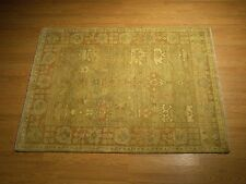 Hand Knotted Oushak Rug 4 x 6 Vegetable Dyes Hand Spun Very Soft Fine Wool Rug