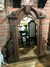 Large Antique Ornate Mahogany Mirror Wall Hanging Mirror Architectural Salvage