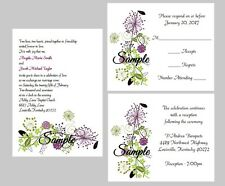 100 Personalized Custom Purple Green Floral Wedding Invitations Set