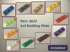 NEW & GENUINE Lego Part 3623 1x3 Plate (Choose 1,2,4,6,8,10 or 50)