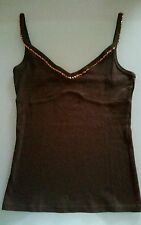 canotta top Benetton XS marrone con paillettes