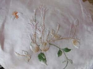 Square morceau of fine antique linen with hand stitched embroidery flowers