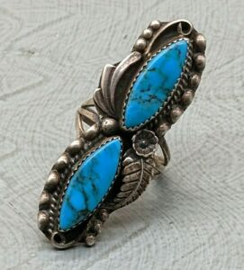Lovely Rare Vintage Navajo Native American Sterling Silver Turquoise Ring B54