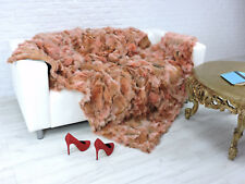 DE LUXE VRAI RENARD Throw Blanket Peach Couleur 200 cm x 160 cm, i054