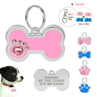 Personalised Dog ID Tags Paw/Bone Cat Puppy Name Collar Tags Engraved Blue Pink