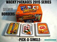 """2015 Wacky Packages Series """"SILVER BORDER"""" Sticker Cards -Pick-A-Single- Pick 1"""