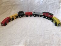 Vintage Wooden Train Cars Lot of 7 Magnetic Train Cars IKEA Bulgaria c. 1990s