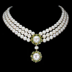 Unheated Oval Peridot White Topaz Pearl 925 Sterling Silver Necklace 18inches
