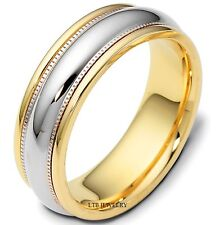 10K TWO TONE SOLID GOLD MENS WEDDING BANDS,SHINY FINISH 7MM WEDDING RINGS