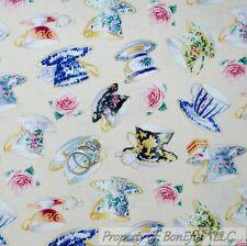 BonEful Fabric FQ Cotton Quilt Sweet English Tea Cup Room Victorian Rose Flower