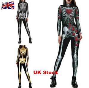 Women Adult Halloween Cosplay Skeleton Zomie Costume Fancy Dress Outfit Jumpsuit