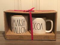 Rae Dunn Christmas By Magenta MARSHMALLOW Cellar Wooden Lid, COCOA Mug, Set of 2