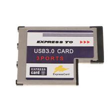 USB 3.0 Express Card PCI ExpressCard 54mm 3 Port Hidden Adapter For Laptop
