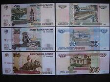 RUSSIA  10 + 50 + 100 Rubles 1997 (2004)  (P268c + P269c + P270c)  UNC