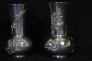 Paire de vase Art Nouveau, argent massif / Pair of small vase, solid silver