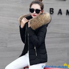 Fashion Women Down Cotton Coat Winter Warm Fur Collar Jacket short Outwear NEW