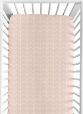 Pink Chevron Arrow Baby Girl Fitted Crib Sheet for Watercolor Elephant Safari