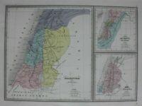 ROMAN PALESTINE, KINGDOM OF ISRAEL, original antique map, Malte-Brun, Huot c1882