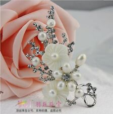 Genuine Freshwater Pearl Crystal inlay Crystal Shell Flower Pin Brooch Gift PB