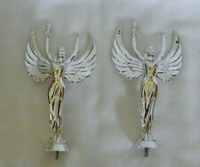 2 Silver Plastic Victory Angel Trophy Toppers 7 3/8