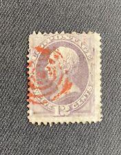 Vintage US Stamp, #151... Unique Blood Red Bullseye Cancel!